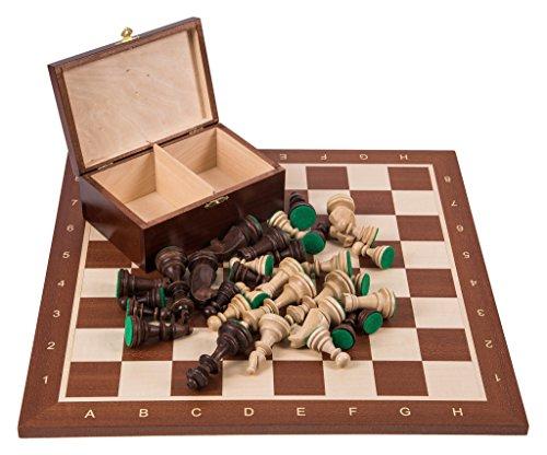 Square - Profesional Ajedrez de Madera Nº 6 - Caoba - Tablero de ajedrez + Figuras - Staunton 6