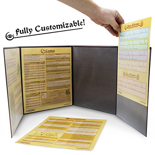 Stratagem The Master's Tome 4-Panel Customizable GM Screen with Free Inserts – Dry Erase, Dungeon & Game Master Accessory for Tabletop RPG Campaigns (Red)