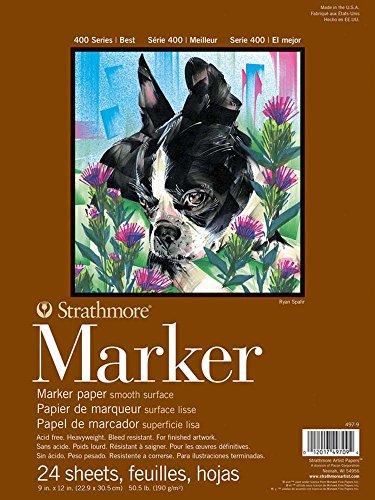 Strathmore Bloc Enc 9x12 24H Marker (400) 190g Blanco, Acrílico, Multicolor, 0.15 x 8.9 x 11.9 cm
