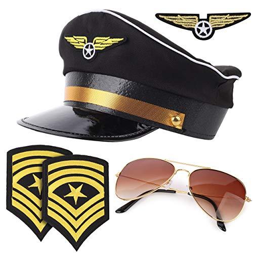 thematys Set de Pilotos 4 Piezas - Sombrero, Gafas, charreteras e Insignias - Accesorios para Adultos Carnaval y Cosplay