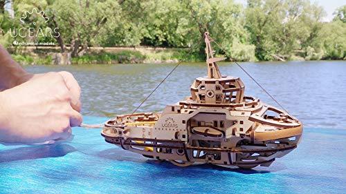 UGEARS Kit de Puzzle 3D de Madera Maqueta Mecánica de Remolcador | Manualidades Rompecabezas para Adultos | Juguete de Aprendizaje Puzle DIY para Niños | Set de Construcción de Madera Kit de Puzle 3D
