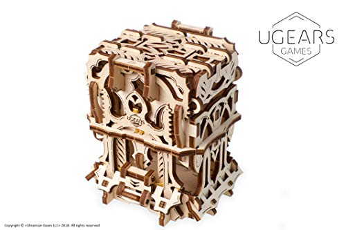 UGEARS Modelo Mecánico Puzzle 3D - Caja para Mazos Barajas de Cartas Tarjetas de Juego de Mesa - Deck Box Estuche Funda de Transporte de Madera para 120 Naipes - Maquetas para Construir Adultos