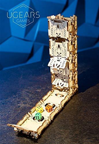 UGEARS Modelo Mecánico Puzzle 3D - Torre de Dados Modular de Madera - Dice Tower - 4 Copas de Dados Maquetas para Construir Adultos para Juegos de Mesa Juego de Cartas Rompecabezas Adultos