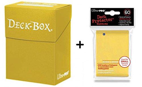 Ultra Pro Deck Box + 60 Tamaño Pequeño Protector Sleeves - Amarillo - Yellow - Yu-Gi-Oh Japonés Mini