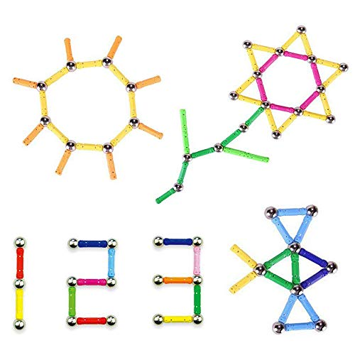 Veatree Bloques Magnéticos de Construcción para Niños Palos Magnéticos con Bolas 206 Piezas Juguete Educativo para el Desarrollo Integral para Mayores de 4 Años