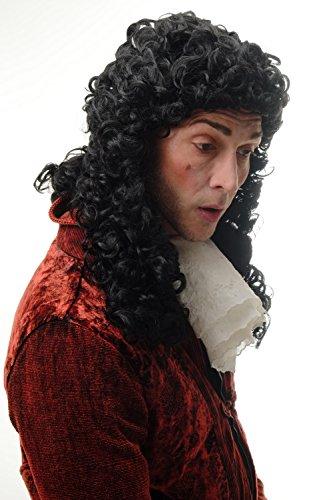 WIG ME UP ® - 91030-ZA103 Peluca Hombres Carnaval Barroco renacentist Noble príncipe, Rey Louis XIV rizos Negro Largo 45 cm