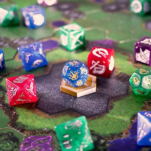 Wiz Dice Dice Wars: Heroes of Polyhedra Juego de Estrategia de fantasía para Mesa, 2-4 Jugadores, Dados Gigantes y Valor de reproducción Infinita
