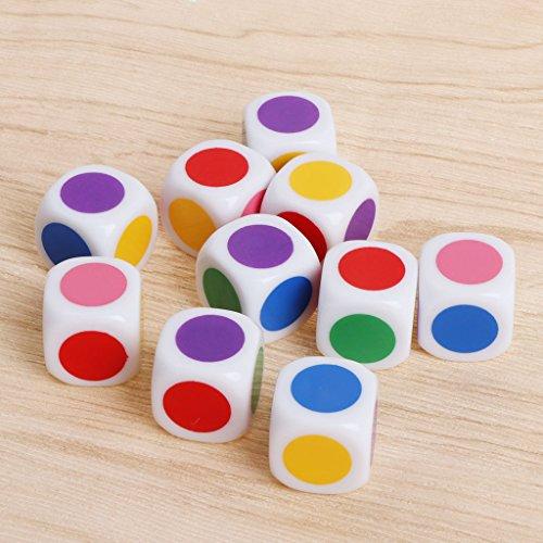 10unidades 15mm Multicolor acrílico Dados Cubo perlas Seis páginas mesa portátil Juegos juguete