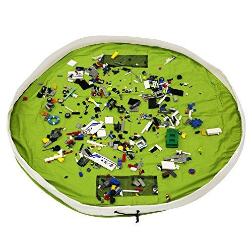 BelleStyle Bolsa de Almacenamiento de Juguetes para niños, Alfombra de Juego Organizer para Juegos de niños, Juguetes de Niños una Limpieza más Rápida (Verde, 150 cm)