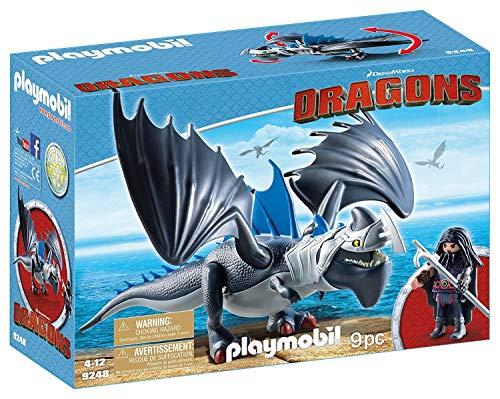 Cómo entrenar a tu dragón-Drago y Thunderclaw con Accesorios Muñecos y figuras, color azul, gris, 34,8 x 12,5 x 24,8 cm Playmobil 9248