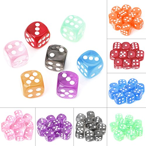 Exing Dados De rol Transparentes, 10 X Six Sided 15mm Transparent Cube Round Corner Portable Table Playing Games