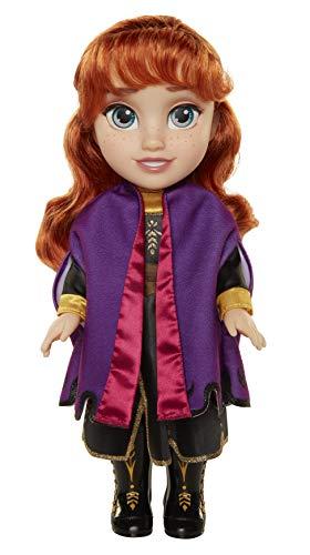 Glop Games- Princesa Disney Anna Frozen 2, con Vestido, Capa y Botas de Viaje II Muñeca Toddler 35cm, Color Replica de la película (202821)