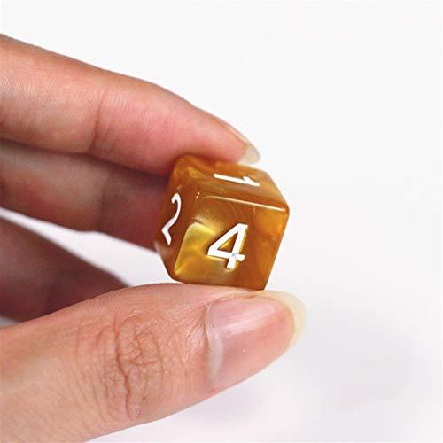 TX GIRL 10PCS D6 Dice Casino Bebida Mármol Digital Dados Juego Juego De Los Dados por Un Partido Divertido Bar Directiva del Club Que Juega Al Juego De Accesorios 8 Colores 15mm (Color : Brown)