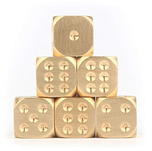 TX GIRL 2pcs De Oro Dados del Casino Color Puro De Cobre Sólido Poliédrico Metal Pesado Juego De Dados Juego De Herramientas 15X15X15mm (Size : 15X15X15mm)