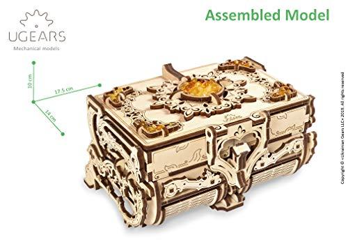UGEARS Puzzle 3D Modelo mecánico - Cofrecito con Perlas de Ámbar Rompecabezas Adultos - Caja de Tesoro de Madera - Cofre del Tesoros - Cajas de Madera - Maquetas para Construir Adultos y Adolescentes