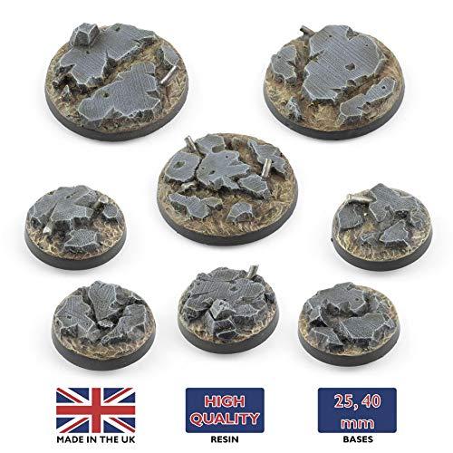 War World Gaming War Torn City - Peanas Redondas Escombros x 10 (25mm) - 28mm Miniaturas Wargaming Batalla Modelismo Ejército Maqueta Diorama Minis Wargames Futurista