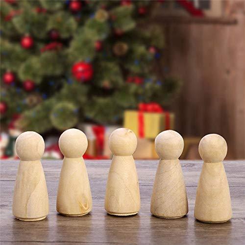10 Pieza Personajes de Madera de Bricolaje,Muñeco Hombre de Madera Sin Terminar,Muñeca de Madera Cuerpo de Madera en Pintura Blanca, Decoración Artesanal de Bricolaje (Forma de Niña)