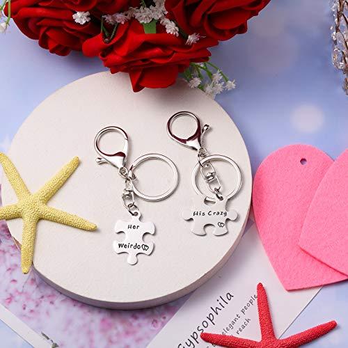 2 Piezas Juego de Llaveros de Pareja Llavero Rompecabezas Anillo Llavero de Pareja de San Valentín para Novio Esposo Novia Cumpleaños