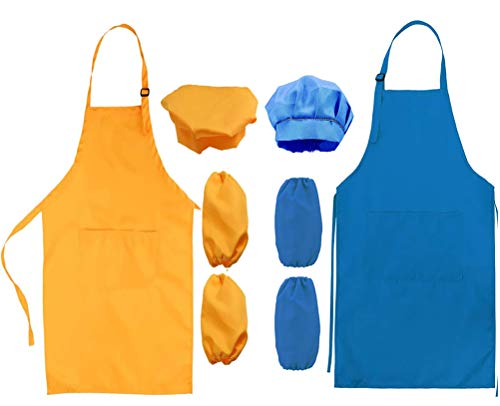 2 Set Delantal Para Niños, Niños Delantal y Gorro de Cocinero y Mangas de Cocina Juego de Chef para Cocinar Hornear Pintar Artesanía (3-6 Años)