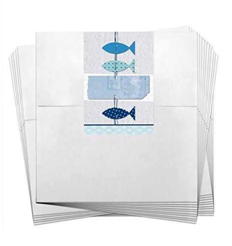 25 bolsas pequeñas blancas de papel para regalo de cumpleaños, 13 x 18 + 2 cm de solapa + con pegatinas de tres peces azules y blancos, para bautizo, comunión, confirmación, boda, cumpleaños