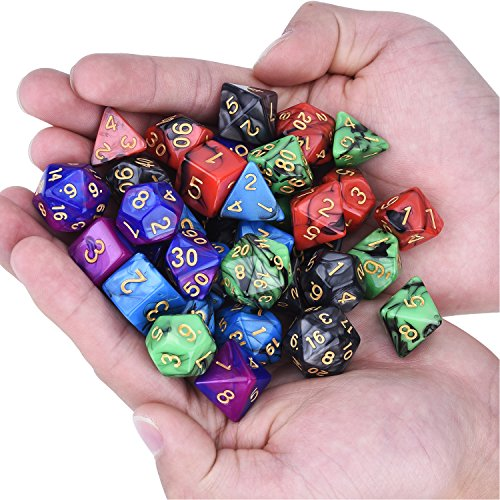 35 Piezas de Dados Poliédricos Dados de Juego de Colores Dobles para RPG Dungeons y Dragons Pathfinder con 5 Bolsas Negras, 5 Sets de d20, d12, 2 d10 (00-90 y 0-9), d8, d6 y d4