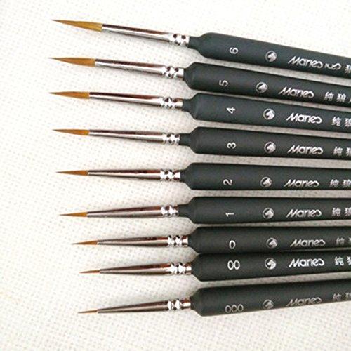5pcs profesional punta fina nylon detalle de pelo conjunto de pinceles pintura de detalle fino dibujo de pintura