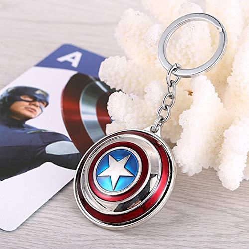 6Pcs Marvel Llavero SuperHeroe The Avengers Colgante Llaveros Black Panther Keyring Thanos Key Holder,Capitán América Llavero De Metal Capitán América Shield Hanging Avengers