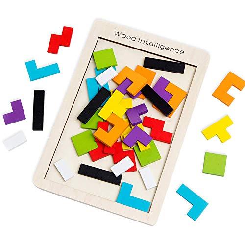 Afufu Puzzle de Madera Montessori Tetris Juguetes Educativos (40 Piezas) Tangram Rompecabezas Juego, Jigsaw Puzzle Tetris del Juguete, Tetris para Niños 3 4 5 6 Años Rompecabezas De Madera