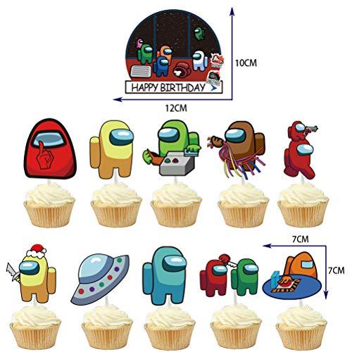 Among Us Party Supplies Juego de suministros para fiestas de cumpleaños para niños con pancartas de Globos de cumpleaños feliz decoración de tartas