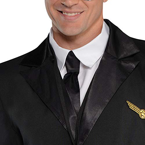 amscan- Adults Costume in Black with Pilot Hat and Lanyard-Size L-1 PC Disfraz Captain Wingman, Color no sólido, 48/50 (844183)
