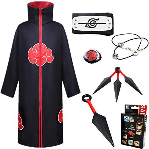 AOGD Naruto Akatsuki Uchiha Itachi Cosplay Disfraz Fiesta de Carnaval de Halloween Mascarada Vestidos Naruto Capa Jugando a Las Cartas Adulto Unisex Niños Conjunto