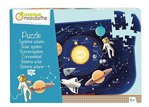 Avenue Mandarine PU017C - Un puzle 76 Piezas con un póster como guía incluida, Sistema Solar