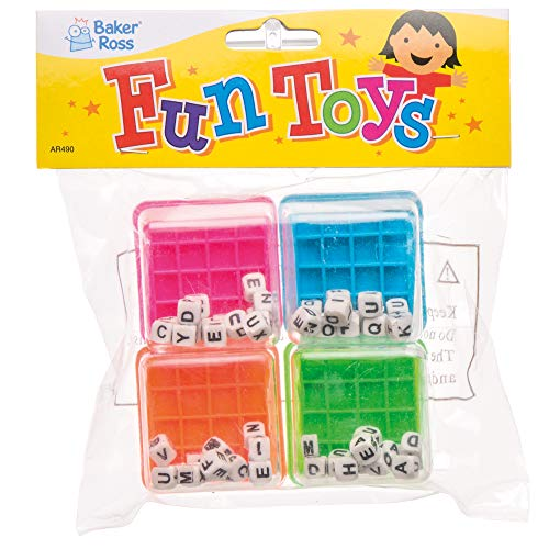 Baker Ross- Minijuegos de Palabras (Pack de 4) -Bolsas Sorpresa y piñatas de Fiestas Infantiles