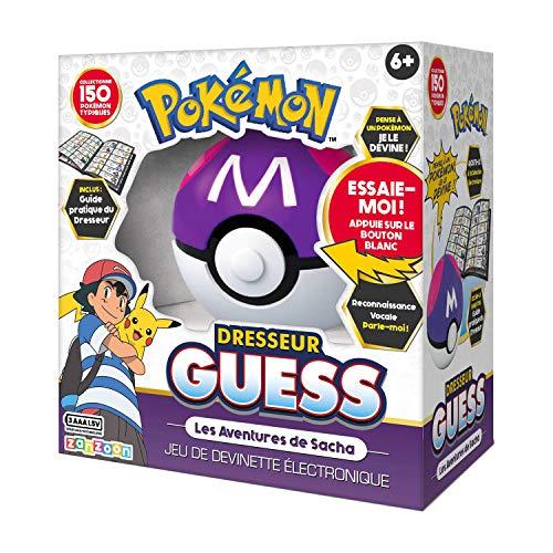 Bandai – Pokemmon-Drestador Guess Les Aventures de Sacha-Poké Bal-Juego electrónico Interactivo-Habla Francesa, ZZ20106