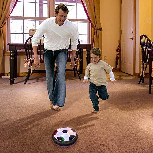Baztoy Balón Fútbol Flotant, Pelota Futbol con Protectores de Espuma Suave y Luces LED Balones Futbol Juguetes Niños 3 4 5 6 7 8 9 10 11 12 Años, Air Power Soccer para Niños Niñas Regalos Cumpleaños