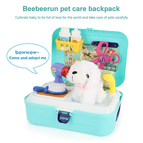 BeebeeRun Cuidado de Mascotas Juguetes de Juego de rol 16PCS,Juguetes para niñas de 2 años,Cuidados del Perro Juego de Mochila para Perros,Regalos de Juguetes educativos para Edades de 3 4 5 6