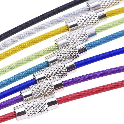 BETOY 40pcs llaveros de Alambre, Multicolor alambre de acero inoxidable llavero,Cable Llavero Porta Materiales de Colgar Etiqueta del Equipaje,Llaves Identificadores de Etiquetas de Identificación