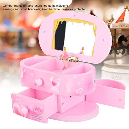 BHDD Caja de música Personalizada para Bailar, Caja de música de Bailarina, joyero Musical clásico, para niñas para niñas pequeñas(Pink)