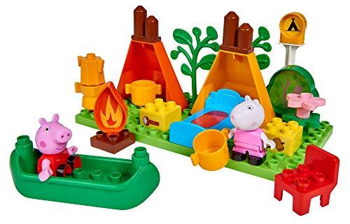 BIG- Bloxx PP Camping Peppa Pig - Set de Acampada (25 Piezas, para niños a Partir de 18 Meses), Color Verde, Naranja, Rojo, Blanco, Rosa, Azul, marrón. (800057143)