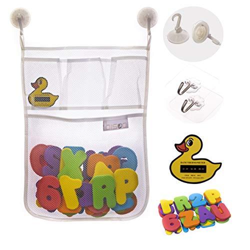 bisoo - Set Juguete Baño Bebe - Malla Organizador + Letras Adhesivas ABC y Numeros de Espuma EVA + 4 Ganchos - Juguetes Bañera Bebes +1 Año Educativos