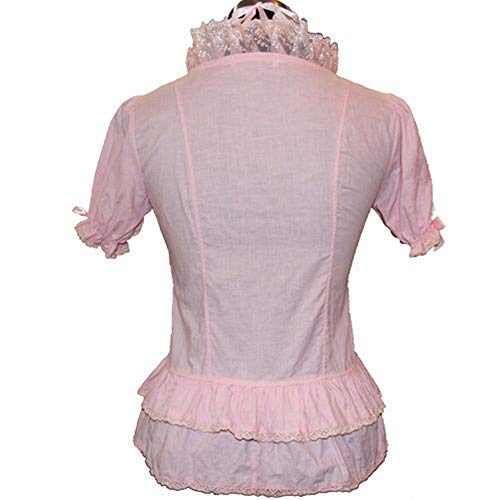 Black Sugar - Camisa medieval de encaje, estilo gótico punk, Emo Baroke, cosplay, disfraz, maid victoriano, oreja, gato, Kawaii, rosa con capucha, Sweet Lolita Modèle Rubans L