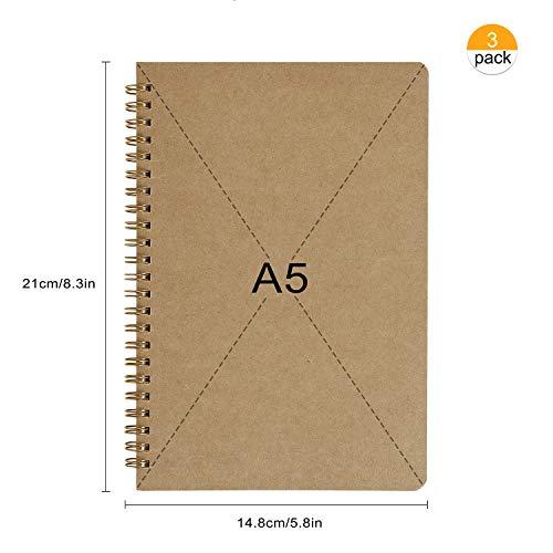 Bloc de Notas en Espiral A5, Cuadernos de Papel Kraft en Blanco, Cuaderno de Bocetos 100 Páginas, Perfecto para Dibujo Artístico, Notas de Aula, Diario de Viaje, Listas de Tareas (3PCS)