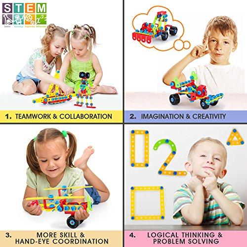 Bloques de Construcción, Juguetes para Niños de 5, 6, 7 Años y Mayores, Aprendizaje de Juegos de Construcción Educativa para 8, 9 Años Niños y Niñas, 552 Piezas de Regalos…