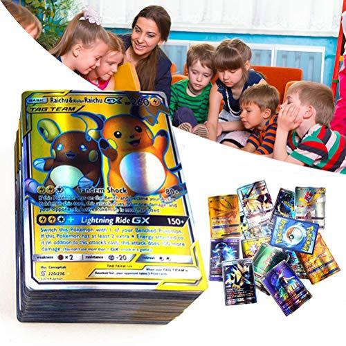Bonbela Tarjetas de Pokemon Packs 120Pcs Tarjetas de Pokemon de Pokemon niños Jugando Cartas de Dibujos Animados Flash Cards