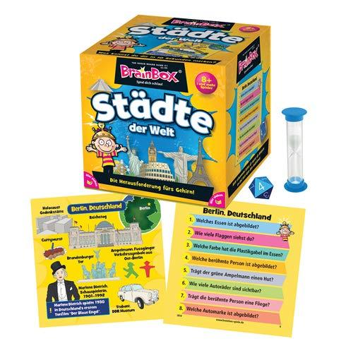 Brain Box- Juego Educativo para niños a Partir de 8 años, Color Ciudades del Mundo (Green Board Game 94944)