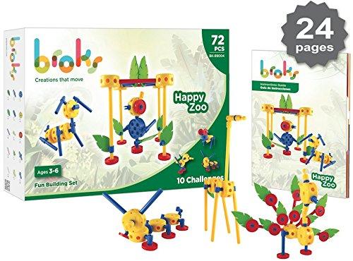 Broks - Happy Zoo: Juego de construcción Educativo para Montar Animales. 72 Piezas encajables