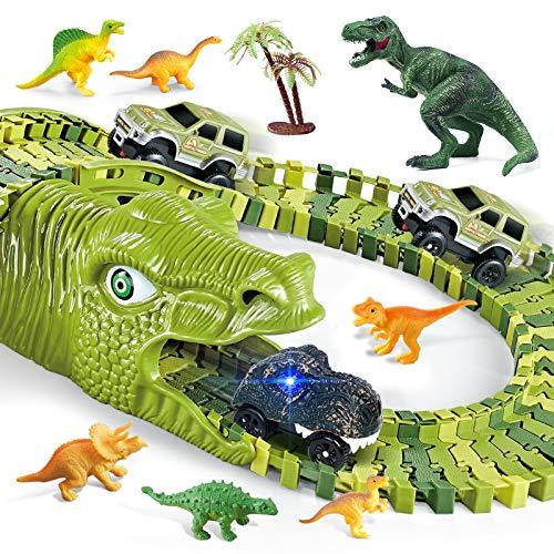burgkidz Juego de Pistas Dinosaurios de Carreras de Autos, 260 Piezas Dinosaurios Pista con 3 Vagones de Ferrocarril y 7 Juguetes Dinosaurio, Circuitos de Carreras de Juguete para Niños