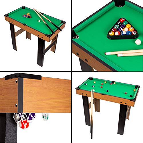 CalmaDragon Mesa Multijuegos 4 en 1 Billar, Medidas: 87 x 43 x 73cm. Ping Pong, Hockey y Futbolín Regalo ideal para toda la Familia