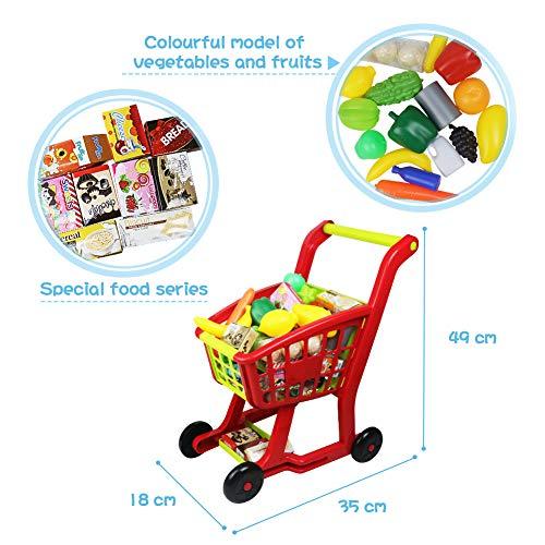 Carrito Compra Supermercado de Juguetes -Carro de la Compra con Comida Frutas y Verduras Cocinas de Juguete Accesorios Juego de rol Juguetes Educativos Niños Niñas 3 4 5 6 Años(27 Piezas)
