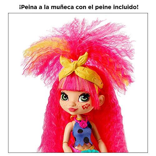 Cave Club Muñeca Emberly, muñeca prehistórica con mascota y accesorios (Mattel GNL83)